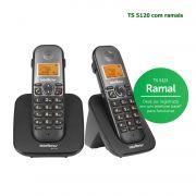 Telefone Sem Fio Intelbras Identificador Chamadas Bina Viva Voz TS 5120 Kit Base + 1 Ramal Preto