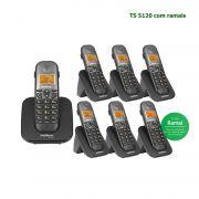 Telefone Sem Fio Intelbras Identificador Chamadas Bina Viva Voz TS 5120 Kit Base + 6 Ramais Preto