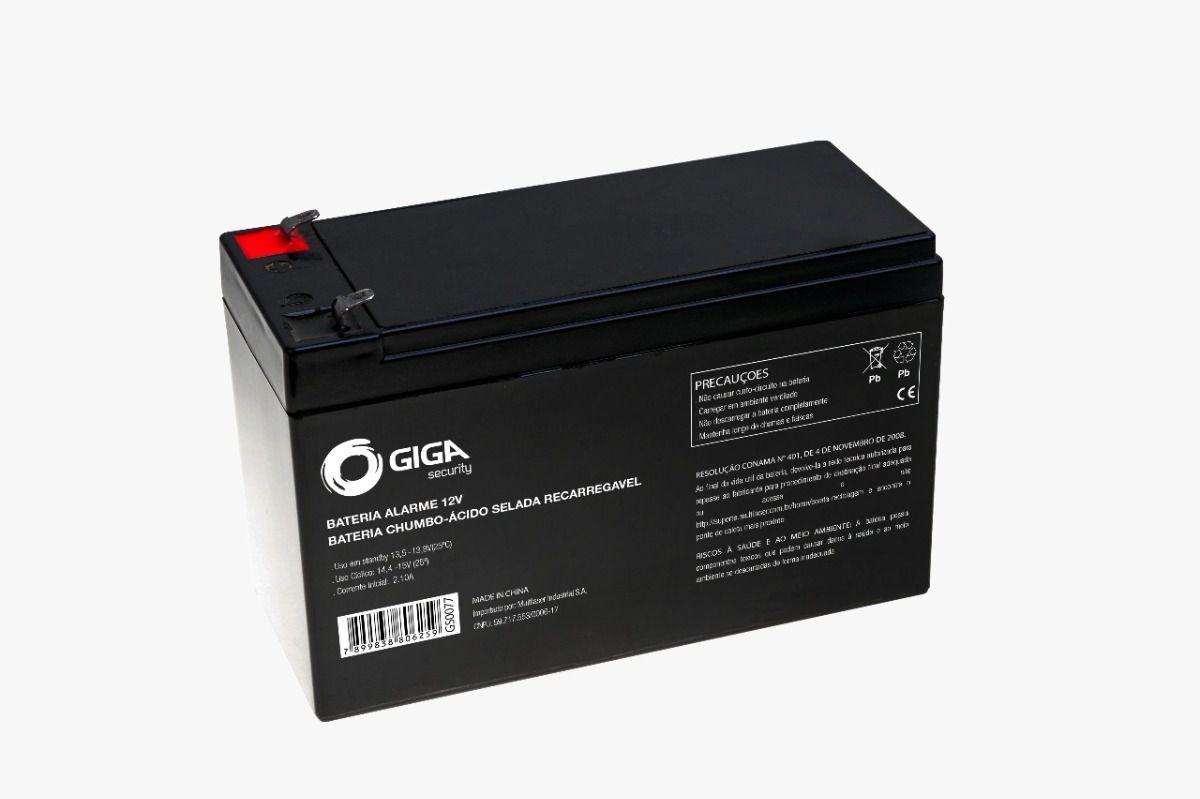Bateria Sistema Segurança Alarme Cerca Elétrica Controle de Acesso 12V 7A GIGA