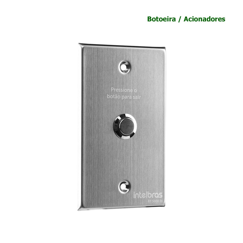 Botoeira Inox Embutir Intelbras Botão Acionador NA Abertura 4x2 BT 5000 IN