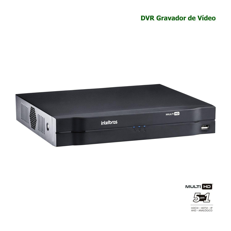 DVR Gravador Digital Vídeo Intelbras Multi HD 04 Canais H.265 MHDX 1104