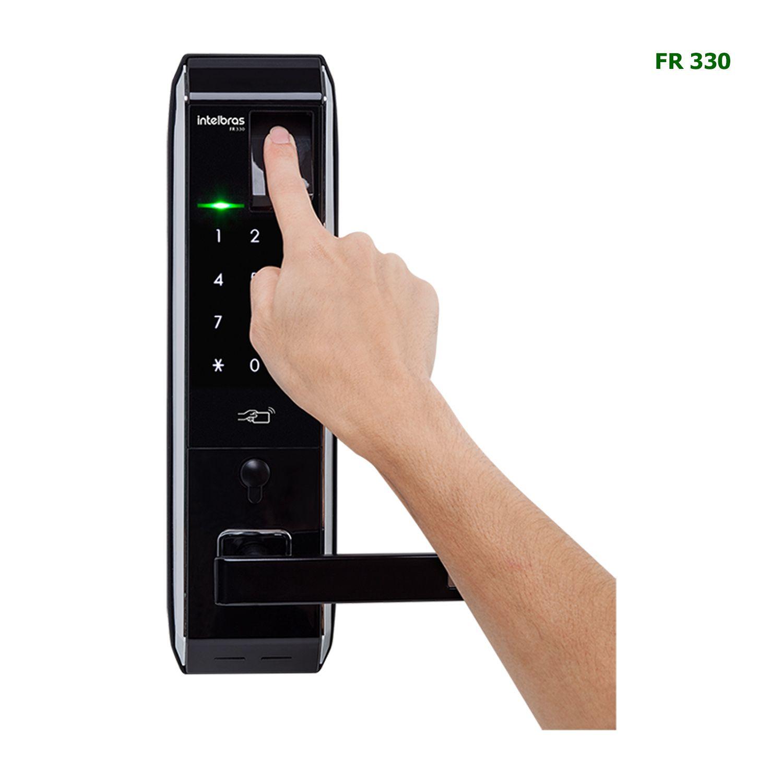 Fechadura Digital Intelbras Senha TAG RFID 13,56MHz Com Biometria e Chave FR 330