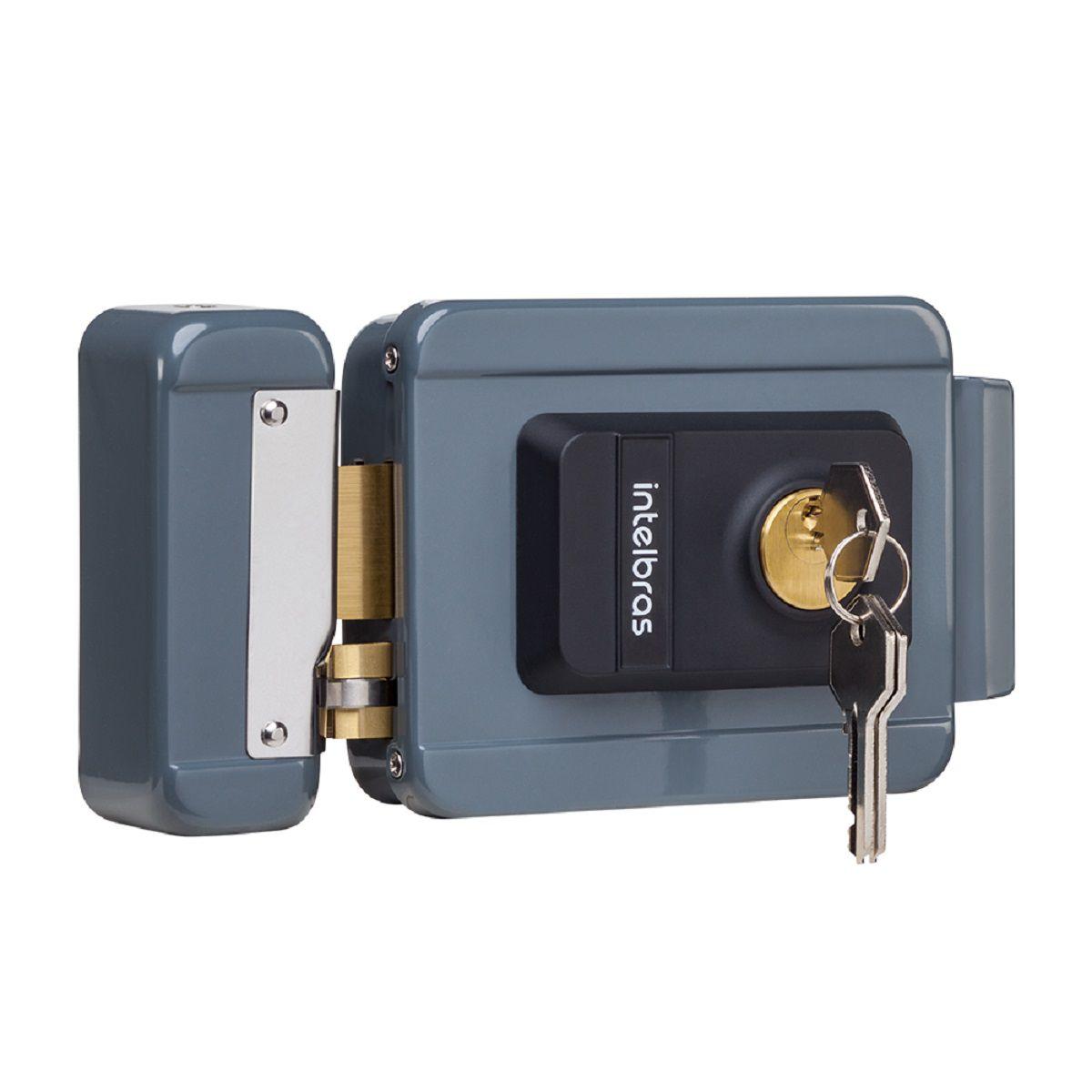 Fechadura Elétrica Intelbras Cilindro Fixo 12V Para Portão FX 2000 Cinza