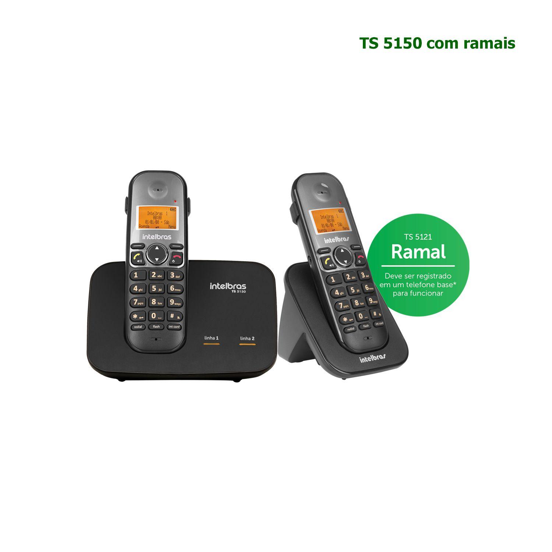 Kit Telefone Sem Fio Intelbras Entrada 2 Linhas ID Chamadas TS 5150 + 1 Ramal Preto