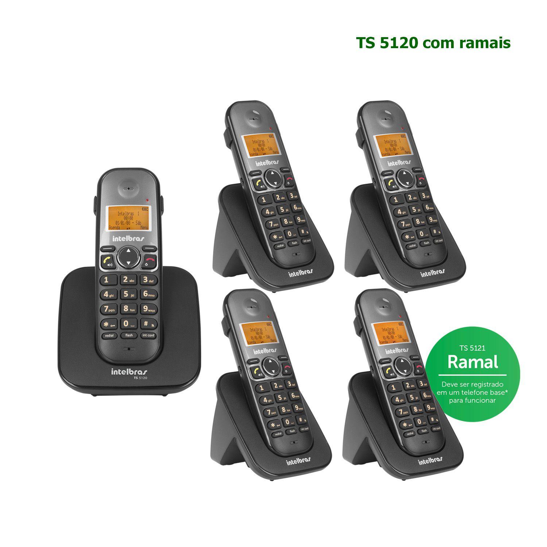 Kit Telefone Sem Fio Intelbras Identificador Chamadas Bina Viva Voz Base TS 5120 + 4 Ramais Preto