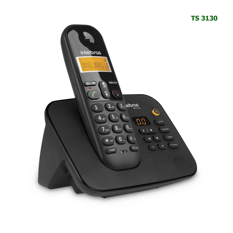 Telefone Sem Fio Intelbras Com Secretária Eletrônica Id Chamadas Bina TS 3130 Preto