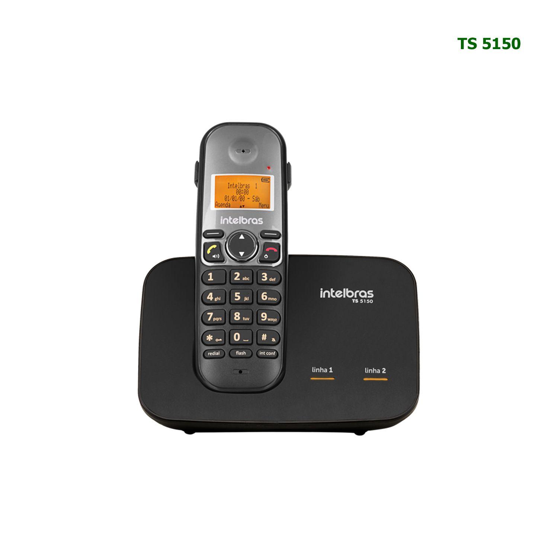 Telefone Sem Fio Intelbras Entrada 2 Linhas Identificador Chamadas TS 5150 Preto