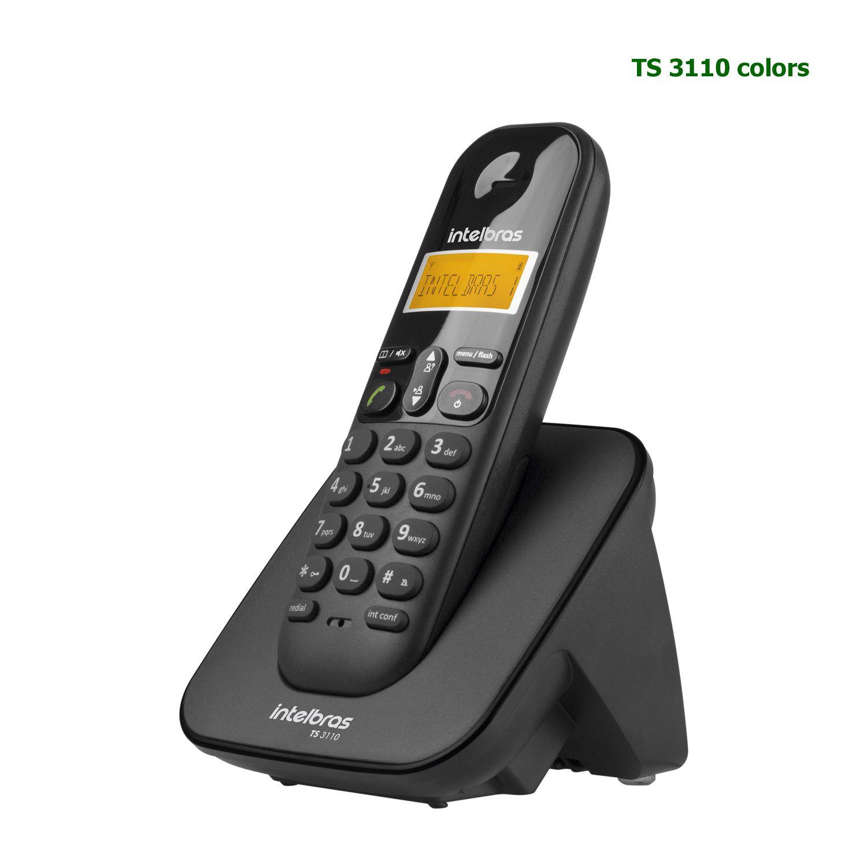 Telefone Sem Fio Intelbras ID Chamada Bina Display Luminoso TS 3110 Preto