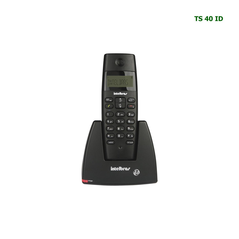Telefone Sem Fio Intelbras Identificador Chamada Digital TS 40 ID Preto