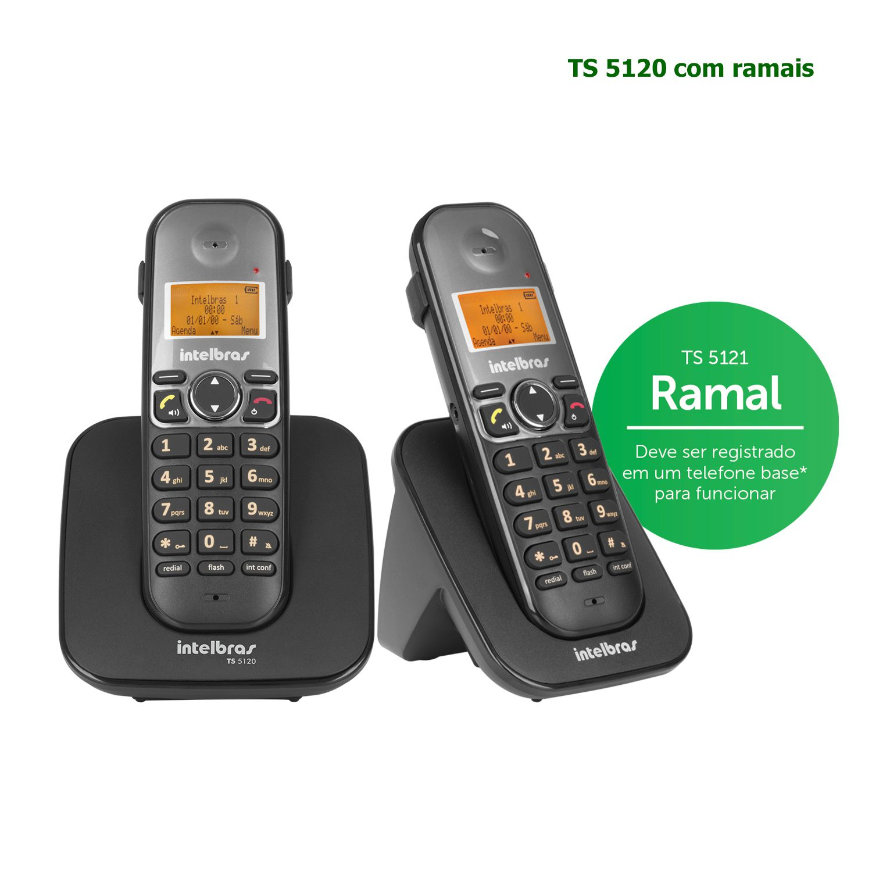 Kit Telefone Sem Fio Intelbras Identificador Chamadas Bina Viva Voz Base TS 5120 + 1 Ramal Preto