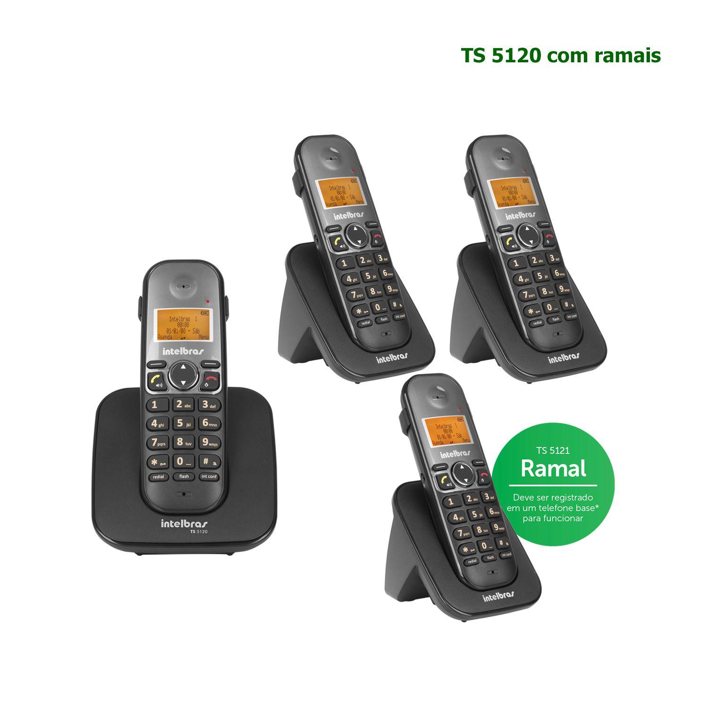 Kit Telefone Sem Fio Intelbras Identificador Chamadas Bina Viva Voz Base TS 5120 + 3 Ramais Preto