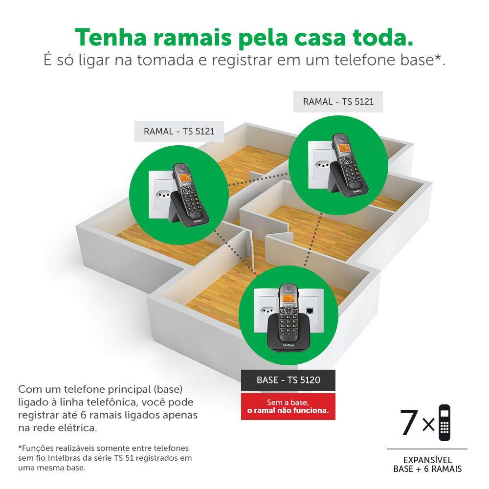 Telefone Sem Fio Intelbras Identificador Chamadas Bina Viva Voz TS 5120 Preto