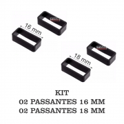 Kit c/ 4 Passantes Borracha p/ Pulseira Largura 2x 16mm e 2x 18mm