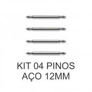 Kit c/ 4 Pinos de Aço para Pulseira de Relógio 12 MM