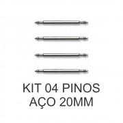 Kit c/ 4 Pinos de Aço para Pulseira de Relógio 20 MM