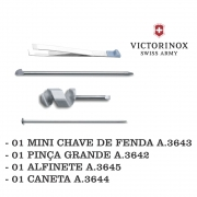 Kit Victorinox 01 Alfinete A.3645 + 01 Pinça Grande A.3642.100 + 01 Mini Chave de Fenda A.3643.100 + 01 Caneta A.3644