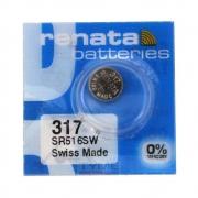 Pilha Bateria 317 SR516SW Renata Swiss Made 1,55V Botão