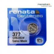 Pilha Bateria 377 SR626SW Renata Swiss Made 1,55V Botão