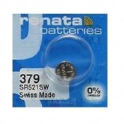 Pilha Bateria 379 SR521SW Renata Swiss Made 1,55V Botão
