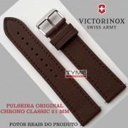 Pulseira de Couro Marrom Victorinox Chrono Classic 21mm 004389