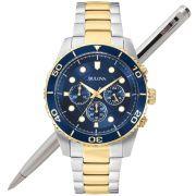 Relógio Bulova Masculino Dourado Cronógrafo WB31989A