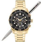 Relógio Bulova Masculino Dourado Cronógrafo Wb31989u / 98a173