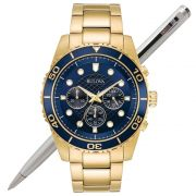Relógio Bulova Masculino Dourado Cronógrafo WB31989Z