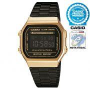 Relógio CASIO Vintage Unissex A168WEGB-1BDF Digital - Preto com Dourado