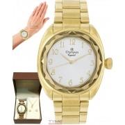 Relógio Champion Crystal Dourado Feminino + semi jóia CN26297W