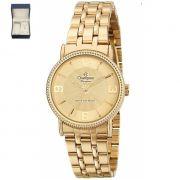 Relógio Champion Elegance Dourado Feminino + semi jóia CN27296X