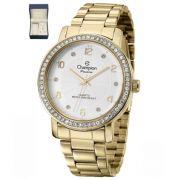 Relógio Champion Passion Dourado Feminino + Semi Jóia CN29249D