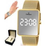 Relógio Champion LED Digital Espelhado Unissex CH40080B Dourado - LED Branco