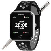 Relógio Champion Smartwatch Bluetooth 4.0 CH50006C Caixa Cinza Pulseira Preto