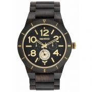 Relógio de Madeira Masculino Wewood Kardo Mb Black Rough Gold WWKR08