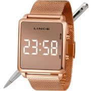 Relógio Lince Led Digital Unissex MDR4619L BXRX Rose - LED Branco