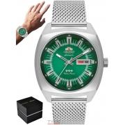 Relógio Orient Masculino Automático 3 Stars F49SS011 E1SX Prateado Verde