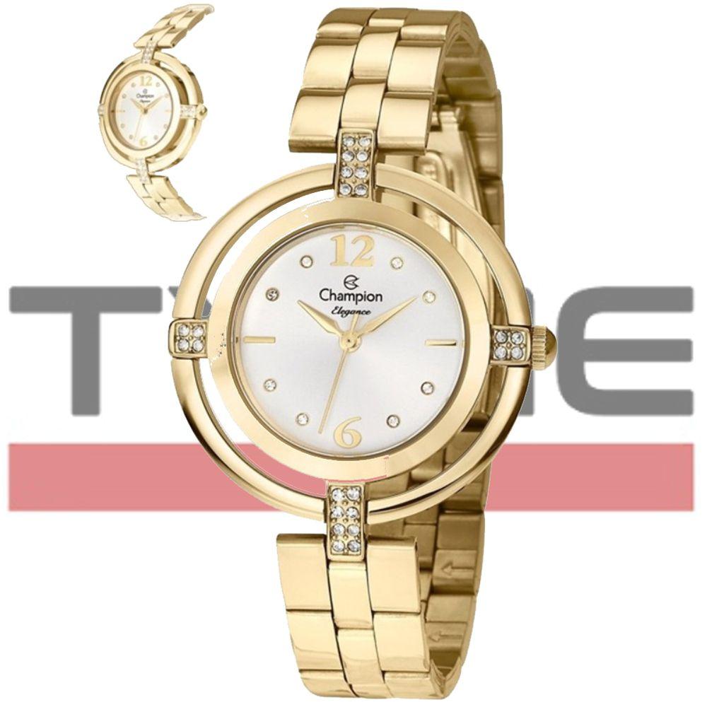 Kit Relógio Champion Feminino Dourado Com Semi Jóia CN25421W
