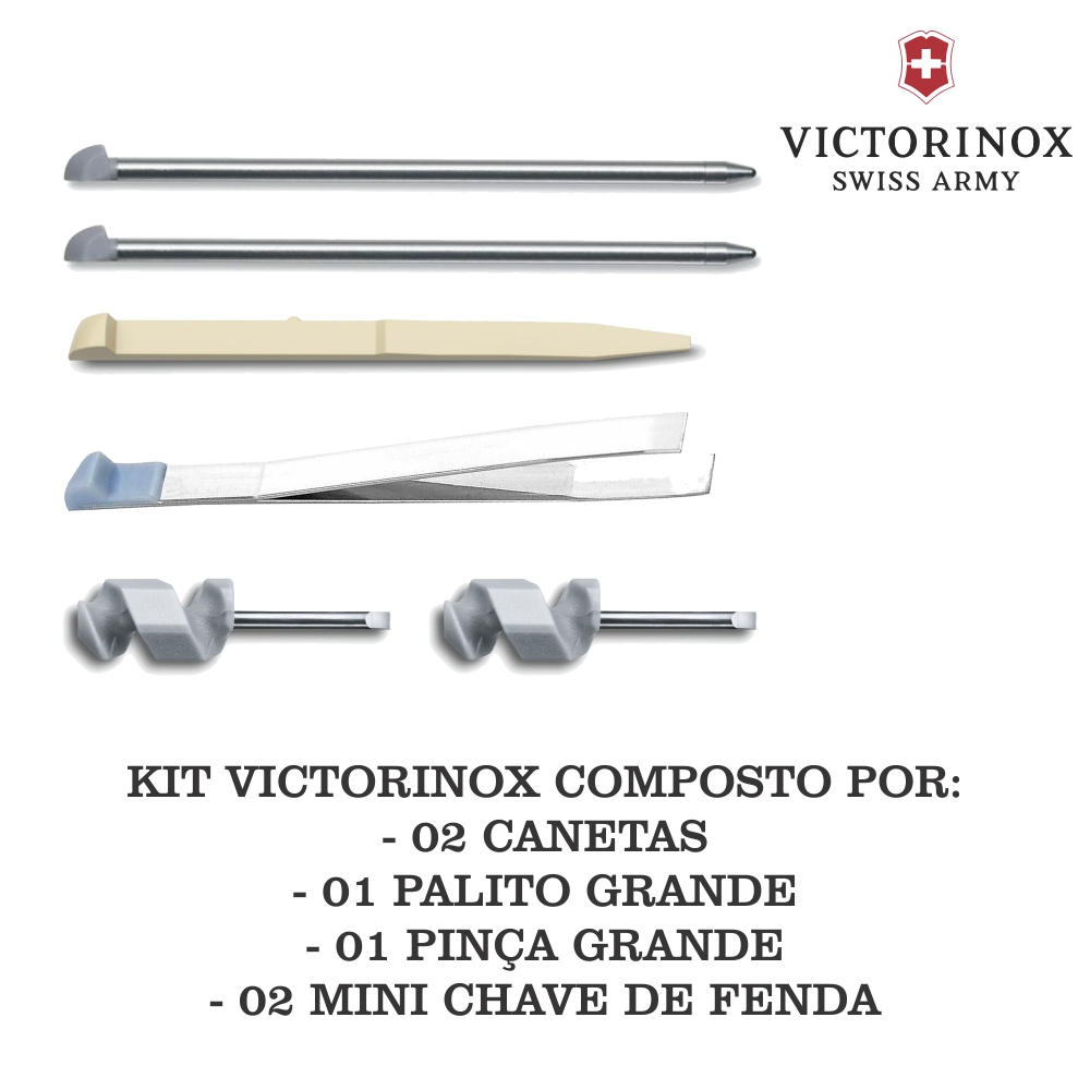 Kit Victorinox 02 Canetas A.3644 + 01 Palito Grande A.3641.100 + 01 Pinça Grande A.3642.100 + 02 Mini Chave de Fenda A.3643