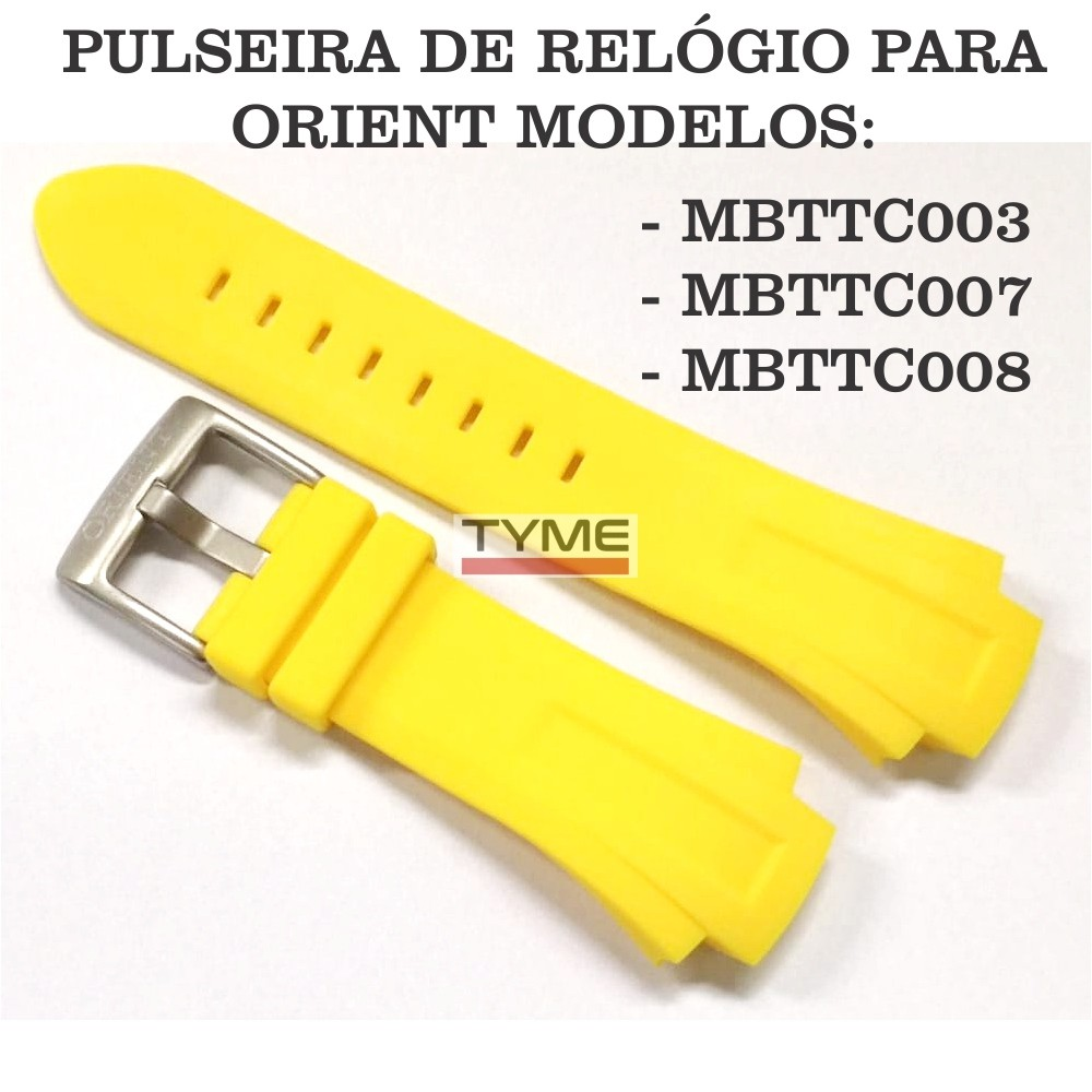 Pulseira de Borracha Amarelo para Relógio Orient MBTTC003 / MBTTC007 / MBTTC008