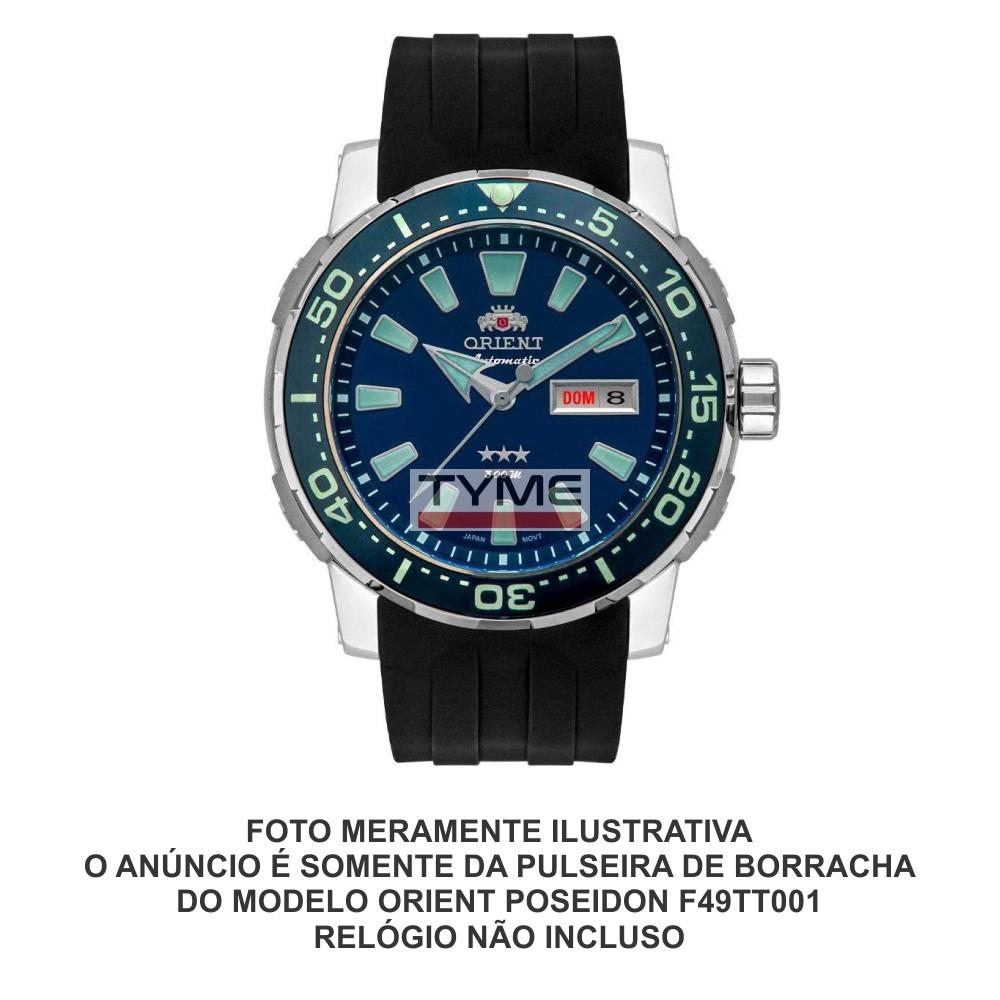 Pulseira de Borracha Preto para Relógio Orient Poseidon F49TT001