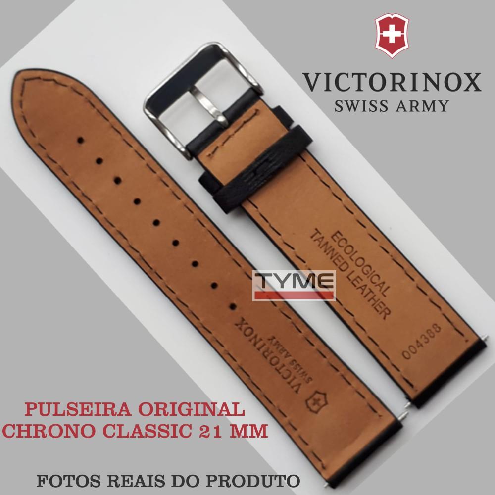 Pulseira de Couro Preto Victorinox Chrono Classic 21mm 004388