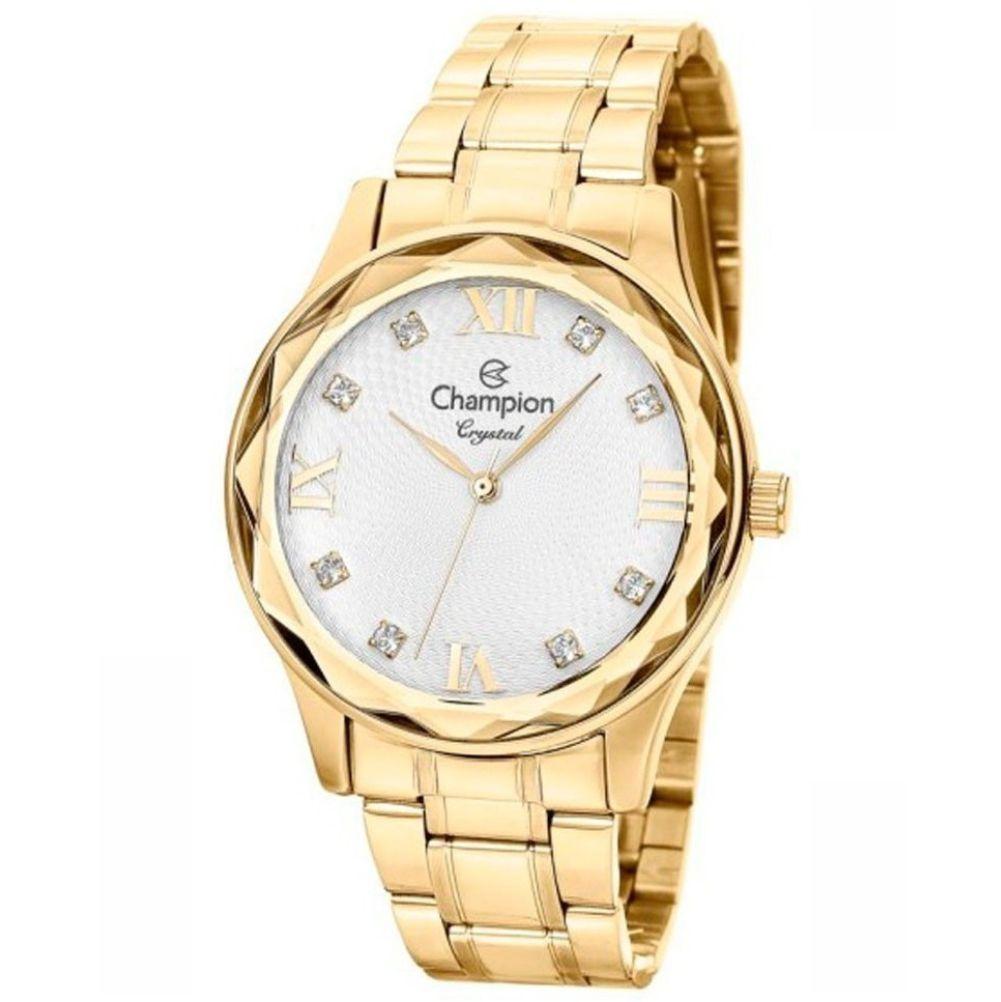 Relógio Champion Dourado Feminino Crystal + semi jóia CN27465W