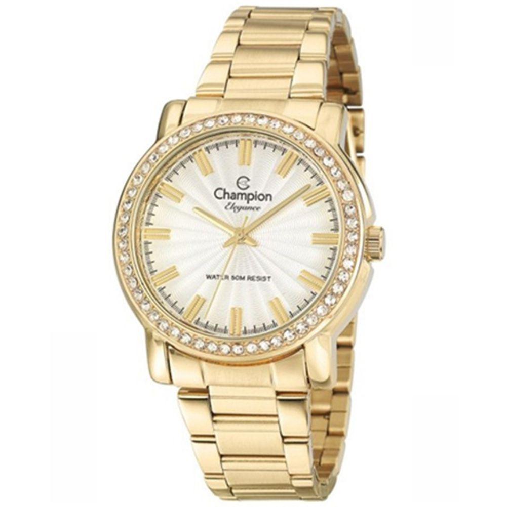 Relógio Champion Elegance Dourado Feminino + Semi Jóia CN27250W