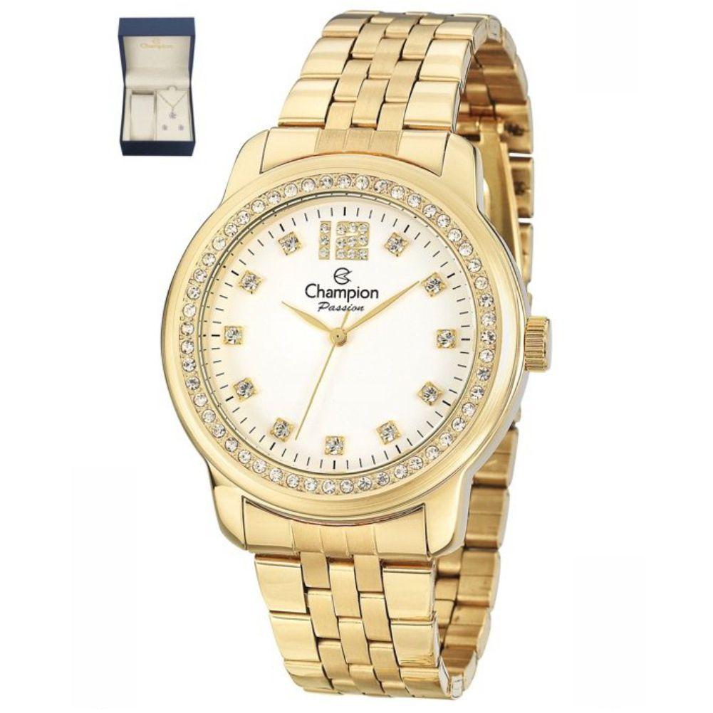 Relógio Champion Passion Dourado Feminino + Semi Jóia CN29954W