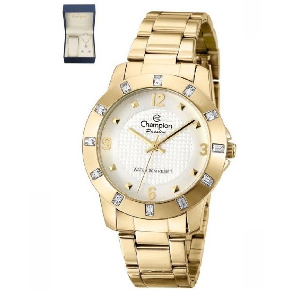 Relógio Champion Elegance Dourado Feminino + semi jóia CN27312W