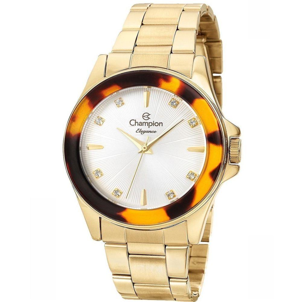 Relógio Champion Elegance Dourado Feminino + semi jóia CN27456W