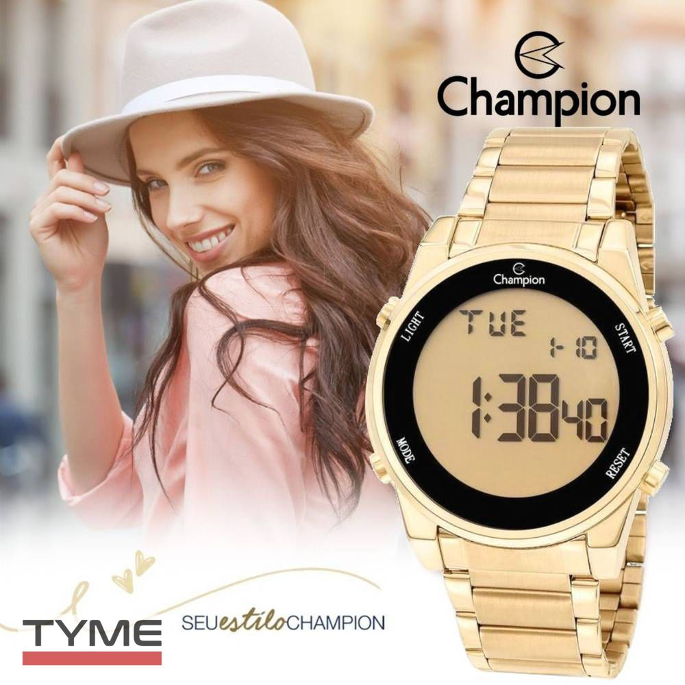 Relógio Champion Feminino DIgital CH40071G Dourado