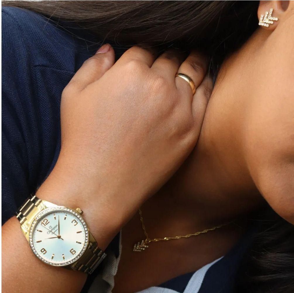 Relógio Champion Passion Dourado Feminino + Semi Jóia CN27269W