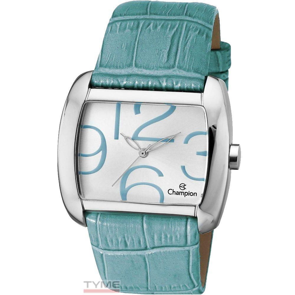 Relógio Champion Feminino Quadrado Couro Azul CH22591F