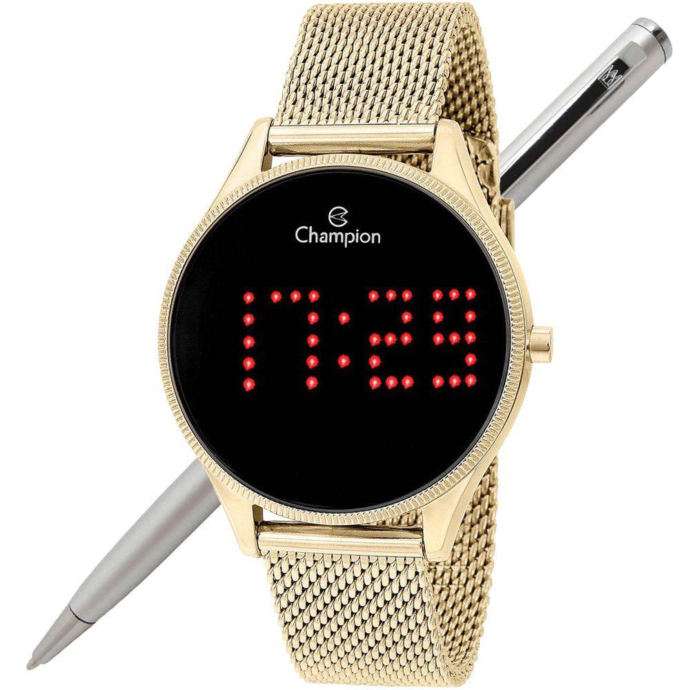 Relógio Champion LED Digital Unissex CH40026V Dourado - LED Vermelho